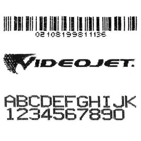ตัวอย่างการพิมพ์ ตัวอักษร โลก้ และบาร์โค้ด VJ1580