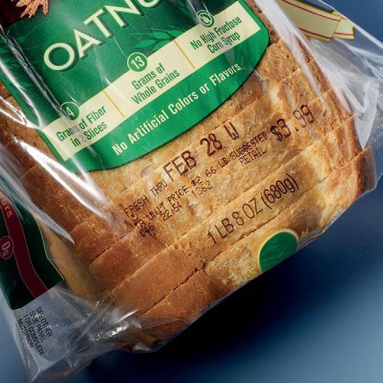 ตัวอย่างการพิมพ์ เครื่องพิมพ์วันที่ บนถุงขนมปัง